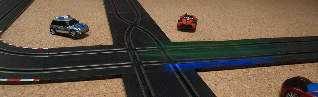 Ein Carrera - Bahn - Auto in voller Fahrt mit 1/6 Sekunde